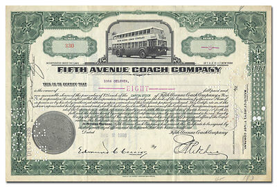 Fifth Avenue Coach Company Stock Certificate (Manhattan Bus System)