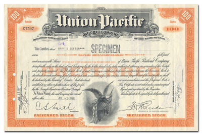 Union Pacific Railroad Company Stock Certificate (Rare Type, Not Listed in Cox)