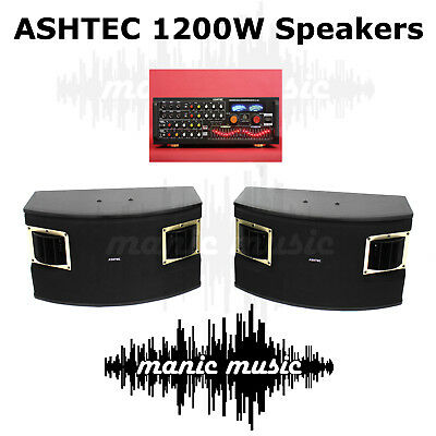 ASHTEC 1200W Bluetooth Powered Mixer Amplifier + Speakers 10 Channel Karaoke DJ