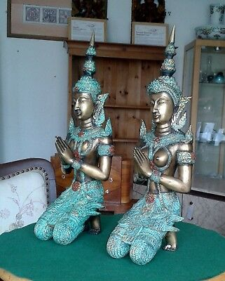 Cold Painted Bronze Effect Thai Angels Figures M & F