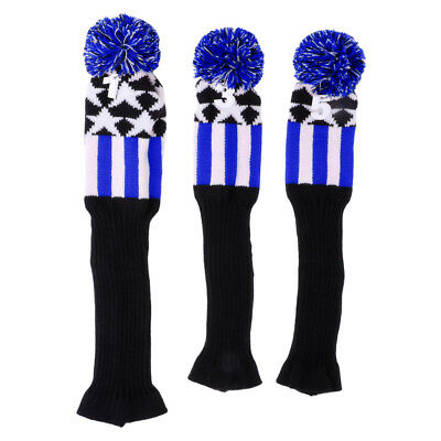 3Pcs Pom Pom knitted Golf Club Head Cover Driver Fairway Woods Headcover Set