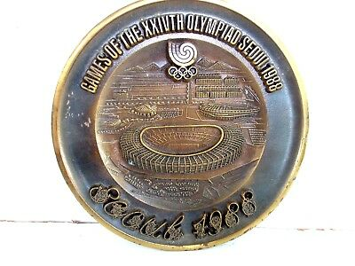 Brass  Composite  Olympic  Games  Seoul  1988  Wall  Plate  24Th  Olympiad