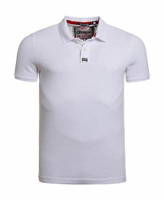 New Mens Superdry New Classic Pique Polo Shirt Optic White