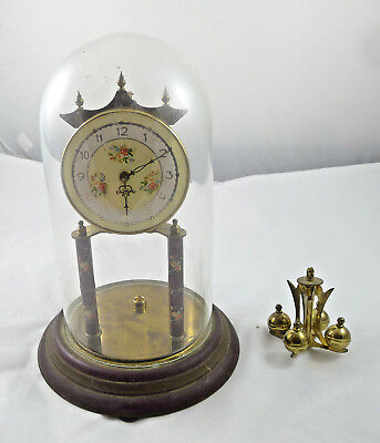 Vintage Bell Glass Glass Bell Dome Clock Germany Olympic Taxidermy Koma