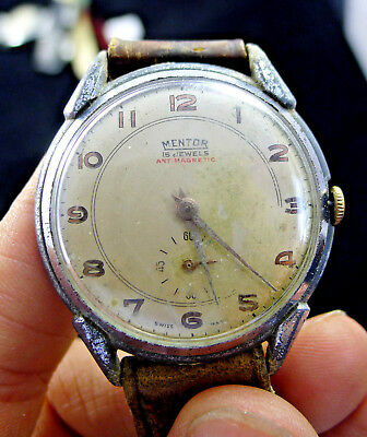men's watch watch vintage men man MENTOR ANTIMAGNETIC 15 JEWELS MILITARY 1950