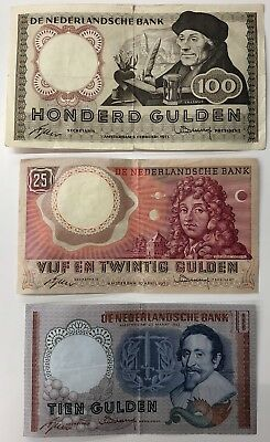 3 x Mixed Banknote Collection - Netherlands - Holland - Europe.  (1974)