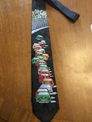 Speed Racing Mens Necktie Race Car Checkered Flags Nascar Themed Neck Tie