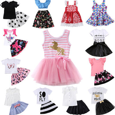 AU Stock 2PCS Toddler Girls Outfits Clothes Tops T Shirt  Skirts Kids Dress Set