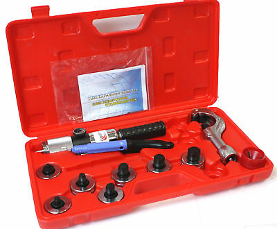 """Tube Expander Manual Hydraulic 7 Lever Swaging Tools Kit Pipe HVAC 3/8""""-1-1/8"""""""