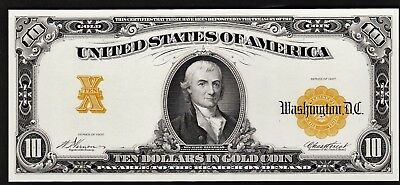 Proof Print or Intaglio Impression by BEP Front of 1907 $10 Gold CertIficate