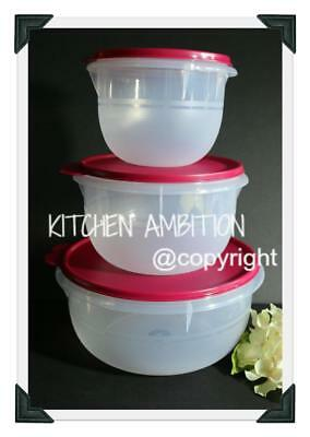 New TUPPERWARE Bowls 3~PC Classic Flat Bottom Mixing Set 4/8/12~Cups Vineyard