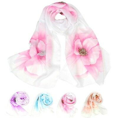 NEW Arrival Women Ladies Chiffon Floral Printed Scarf Soft Wrap Long Shawl Stole