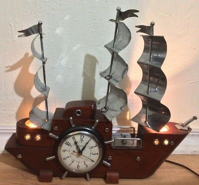 Vintage United Wood Electric Sailing Ship Clock & Table Lamp Night Light Working