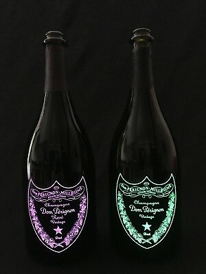 2x Dom Perignon Champagner 0,7l grün + rose Flaschen leer Deko Bar LED Luminous