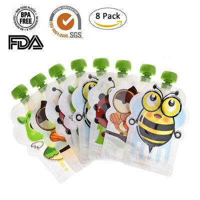 8pcs Reusable Food Food Pouches Baby Feeding Squeeze Storage Sealed Bags