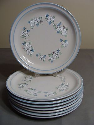 8 Chantilly Hand Decorated Stoneware Dinner Plates By Hearthside, Fleur de Lune