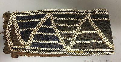 ANTIQUE BEADED NATIVE AMERICAN Indian SASH~SHELLS~GLASS BEADS~HAND MADE BACk