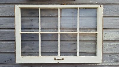 Architectural Salvage ~ 8 PANE 36X28 ANTIQUE WOOD WINDOW SASH, WITH HARDWARE