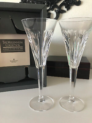 Pair of WATERFORD CRYSTAL Millennium Hearts LOVE Champagne Flutes