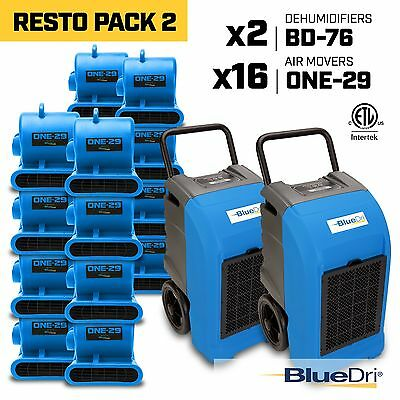BlueDri RestoPack 2, Water Damage Restoration Combo Dehumidifier Air Mover, Blue