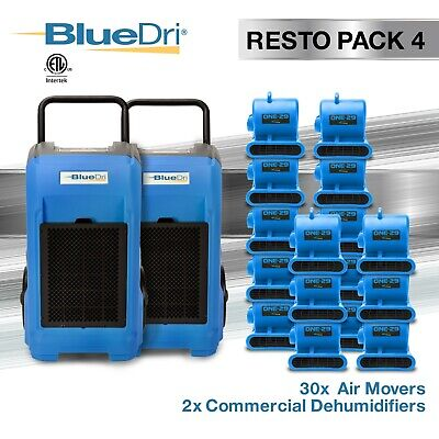 BlueDri RestoPack 4, Water Damage Restoration Combo Dehumidifier Air Mover, Blue