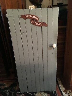 Vintage OUTHOUSE or BARN DOOR cast iron lock porcelain knobs farm house chic