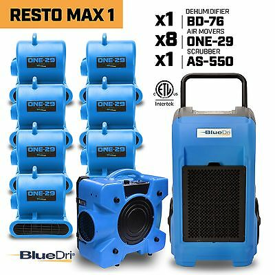 BlueDri RestoMax 1, Water Damage Restoration Air Mover Dehumidifier Air Scrubber