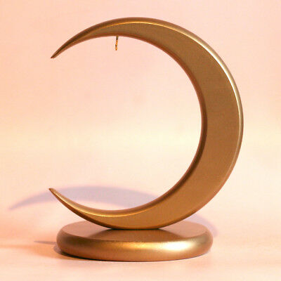 Ornament Display Stand - 7 Inch Gold Tone Wooden Crescent
