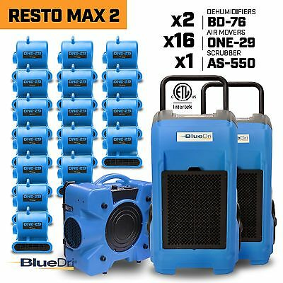 BlueDri RestoMax 2, Water Damage Restoration Air Mover Dehumidifier Air Scrubber