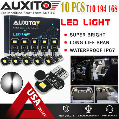 AUXITO 10X Super Bright 194 168 175 2825 T10 Car CANBUS 2835SMD White LED Bulbs