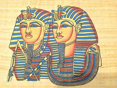 Amazing Large Egyptian king Tut double Face Handmade Ancient Papyrus Painting