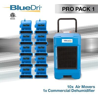 BlueDri ProPack 1, Water Damage Restoration Combo Dehumidifier & Air Mover, Blue