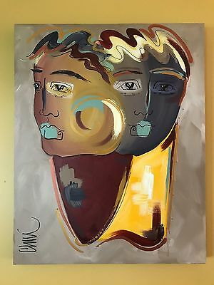 """Abstract Modernist """"brothers""""  Painting. Signed, Chim 1998"""