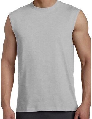 5589065ebffff4 Russell Athletic Men Sleeveless Muscle Tshirt Cotton Tee Top Gray Large NWT