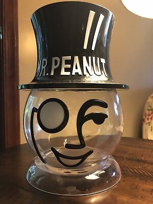 Vintage Planters Mr Peanut Head and Hat Counter Display Plastic Container