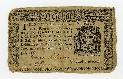 (NY-202) Aug. 13th, 1776 $2 NEW YORK Colonial Currency Note