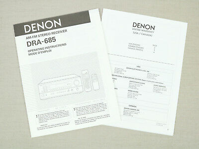 Denon DRA-685 AM-FM Stereo Receiver Owners Manual English France Operating Inst