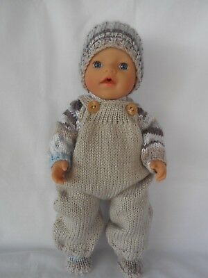 """Hand knitted dolls clothes (Winter Set), fit 33cm """"Little Baby Born"""" doll"""
