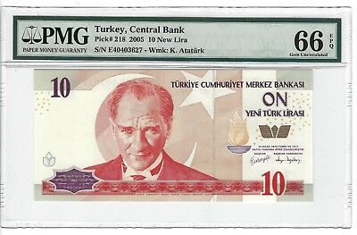 P-218 2005 10 New Lira, Turkey Central Bank, PMG 66EPQ