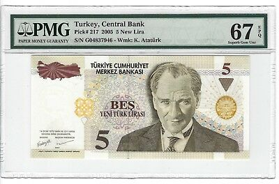 P-217 2005 5 New Lira, Turkey Central Bank, PMG 67EPQ