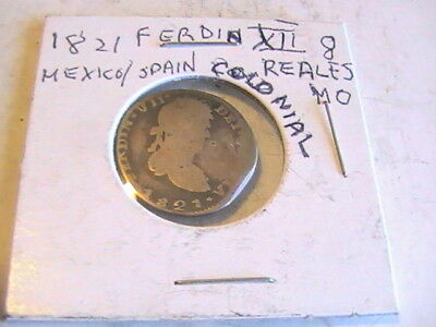 MEXICO 1821 Mo SILVER 8 REALES. FERDINAND VII KING OF SPAIN