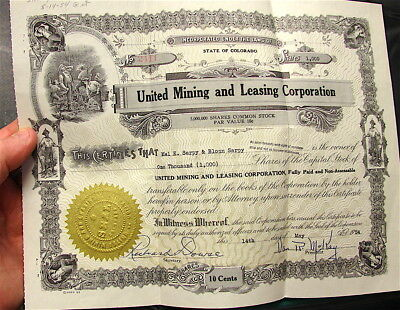 State of Colorado--United Mining and Leasing---1954----1000 Shares---Free Ship