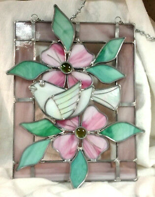"Vintage Stained Glass Sun Catcher Window Hanging 11""x8"" Dove and Pink Flowers"
