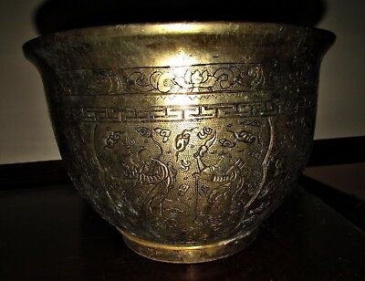 antique chinese brass pot planter several carved scenes w/ immortals? signed