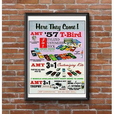 AMT Here They Come 1962 Poster - Classic Model Car Kit Promotion