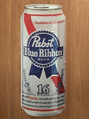 Pabst blue ribbon pbr beer can metal tin sign tacker bar pub