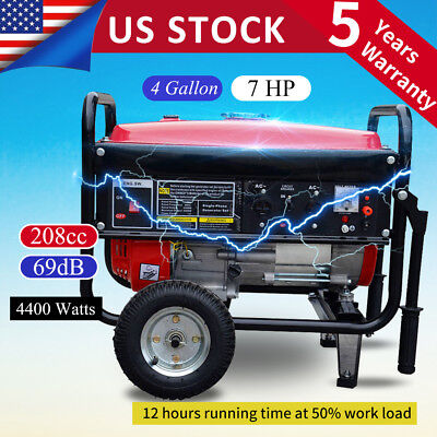 Portable 4400W Gasoline Gas Generator Emergency Home Back Up Power Air-Cooled f