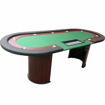 """96"""" Texas Hold'em Casino Poker Table with Cup Holders Drop Box Chip Tray - Green"""