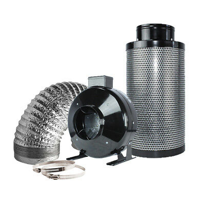 """6"""" Inline Fan Carbon Air Filter Ducting Combo for Hydroponics Plant Growing"""