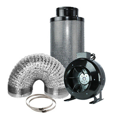"""8"""" Inline Fan Carbon Air Filter Ducting Combo for Hydroponics Plant Growing"""